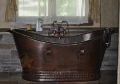 Hammered Copper Double Slipper Tub
